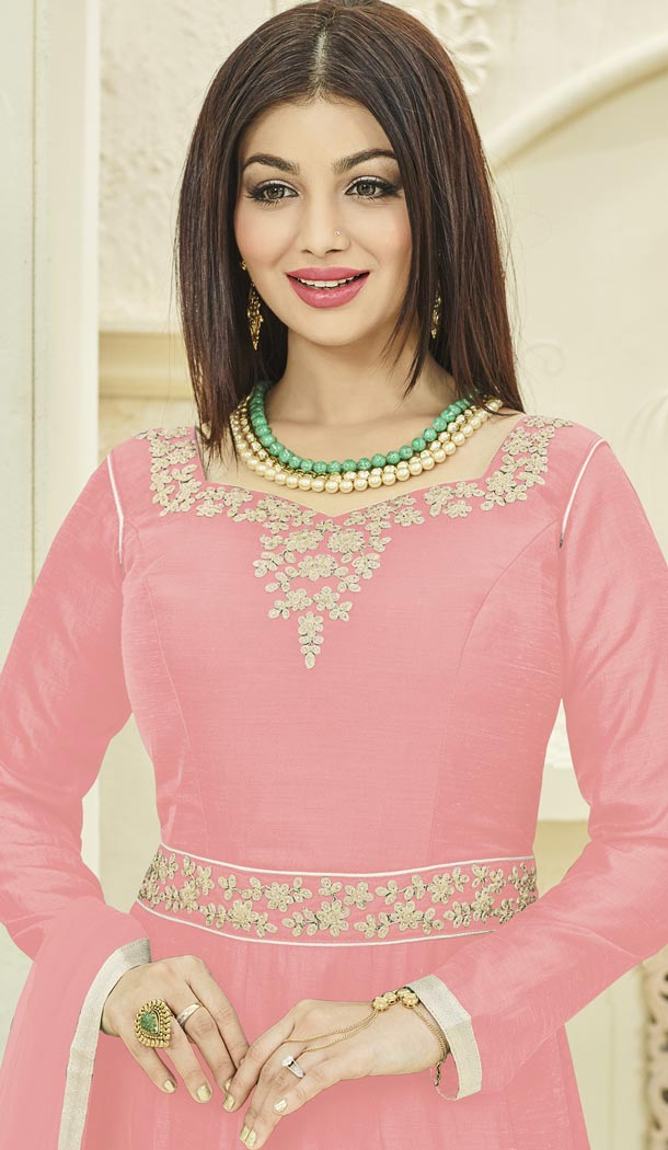 Bollywood Actress Ayesha Takia's Pink Color Georgette Party Gown - 401348448