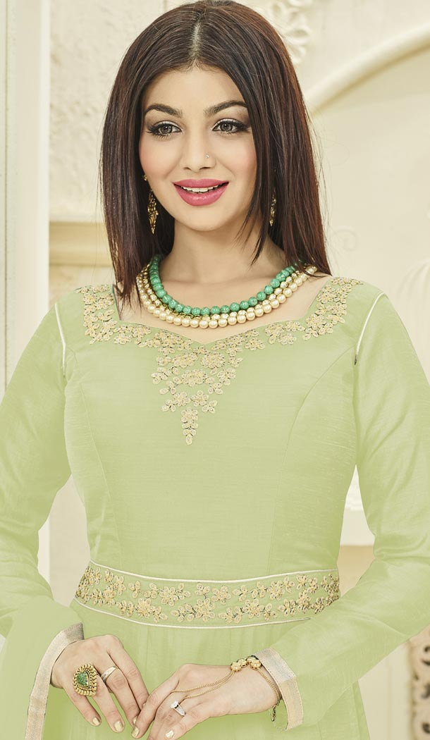 Bollywood Actress Ayesha Takia's Creamy Green Color Georgette Party Gown - 401348451