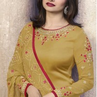 Prachi Desai Party Wear Lehenga Suit in Satin Georgette with Yellow Color - 58707997
