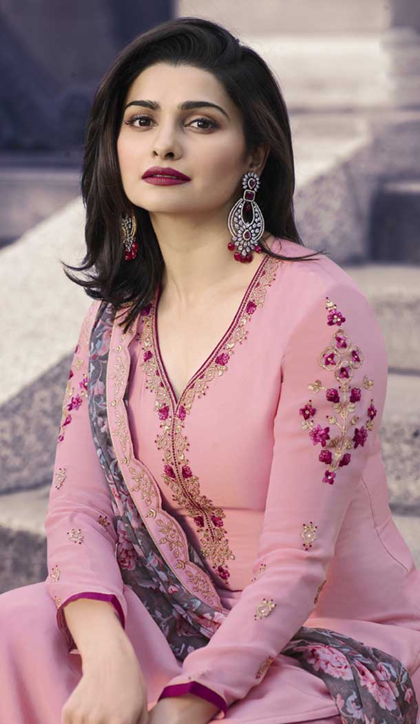 Prachi Desai Party Wear Palazzo Suit in Satin Georgette with Light Pink Color - 58707999
