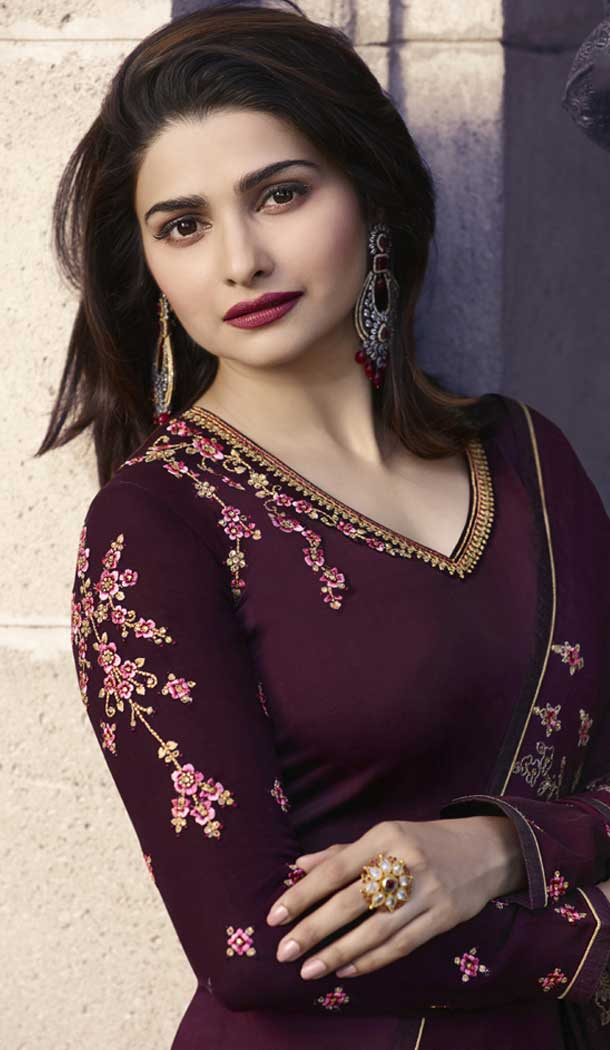 Prachi Desai Party Wear Lehenga Suit in Satin Georgette with Wine Color - 58707801