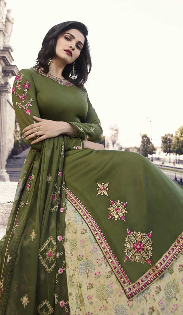 Prachi Desai Party Wear Lehenga Suit in Satin Georgette with Olive Green Color - 58707803