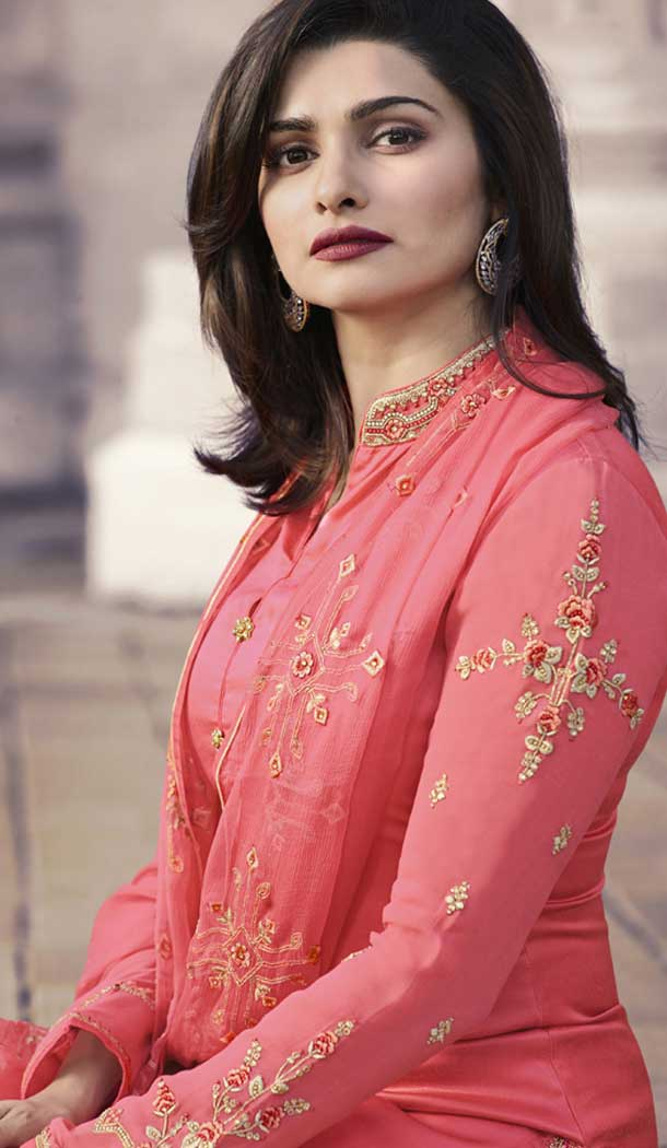 Prachi Desai Party Wear Lehenga Suit in Satin Georgette with Pink Color - 58707804
