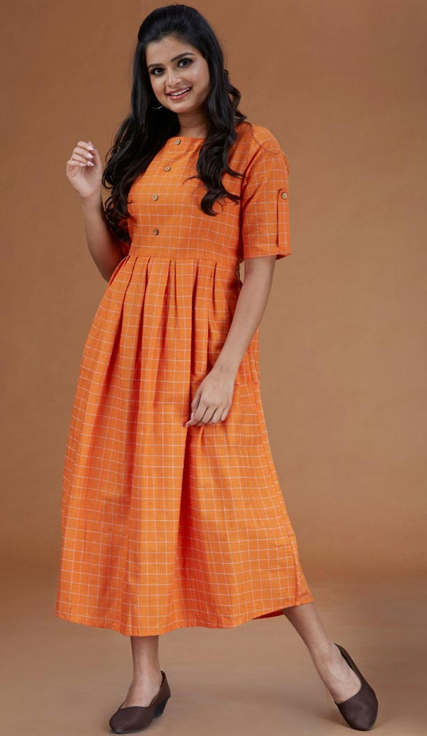Orange Color Cambric Cotton Casual Wear Readymade Kurtis - 401648464