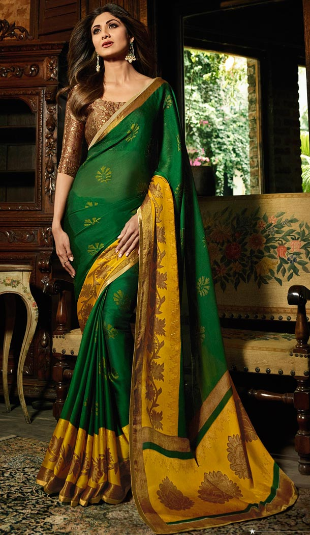 Shilpa Shetty Green Color Brasso Bollywoode Celebrity Party Saree Blouse - 402648609