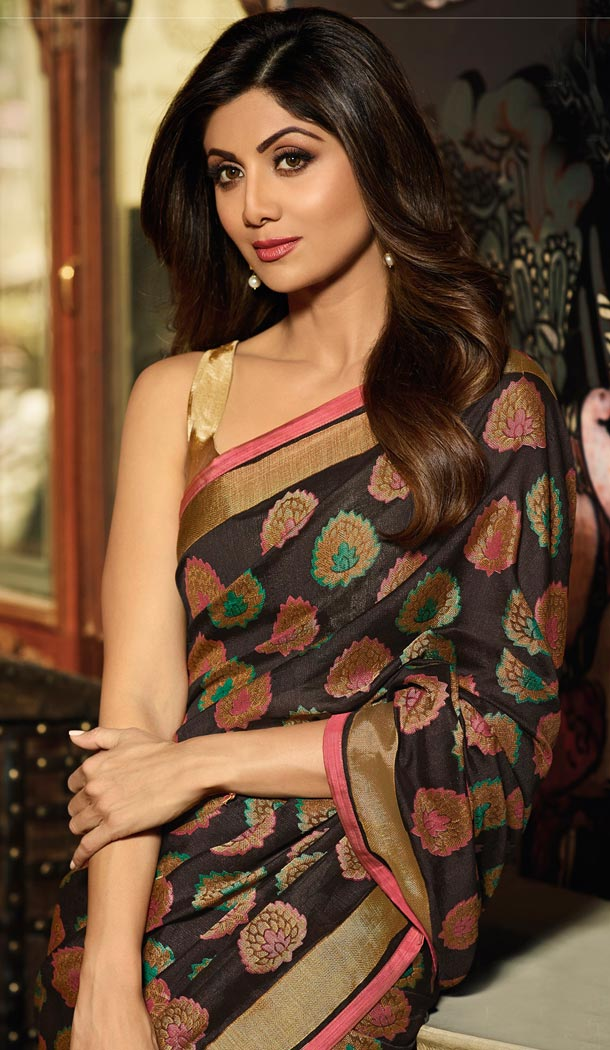 Shilpa Shetty Multi Color Brasso Silk Bollywoode Celebrity Party Saree Blouse - 402648613