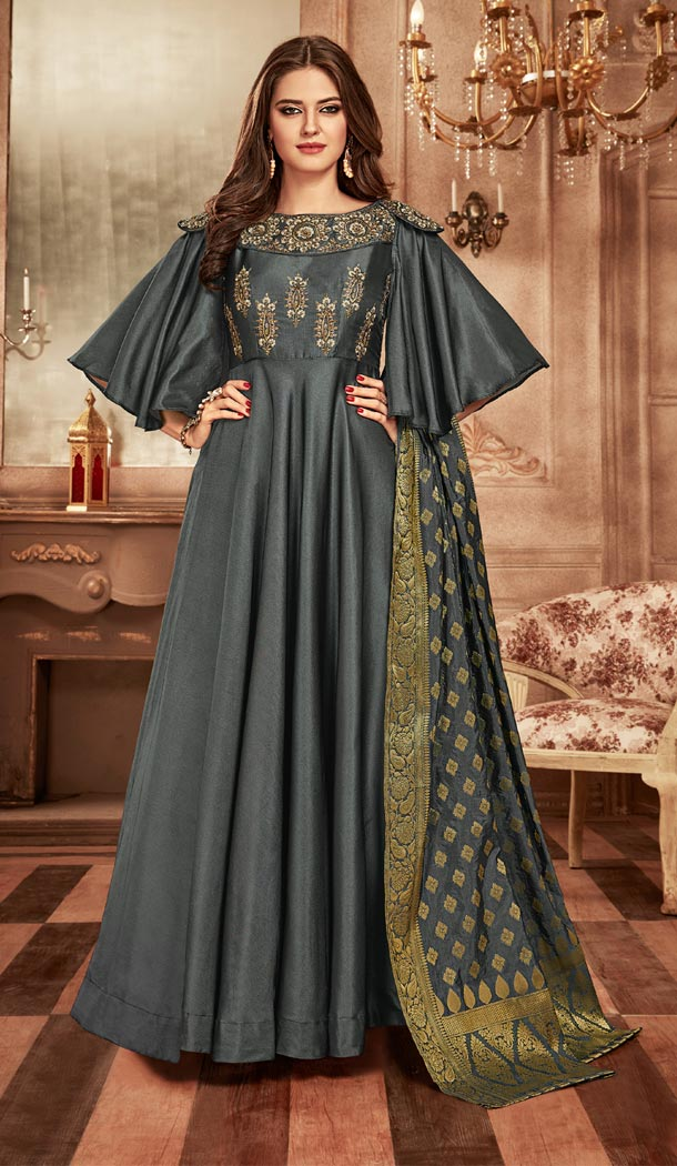 Dark Grey Color Tapeta Indo Western Designer Readymade Gown Suit - 403148685