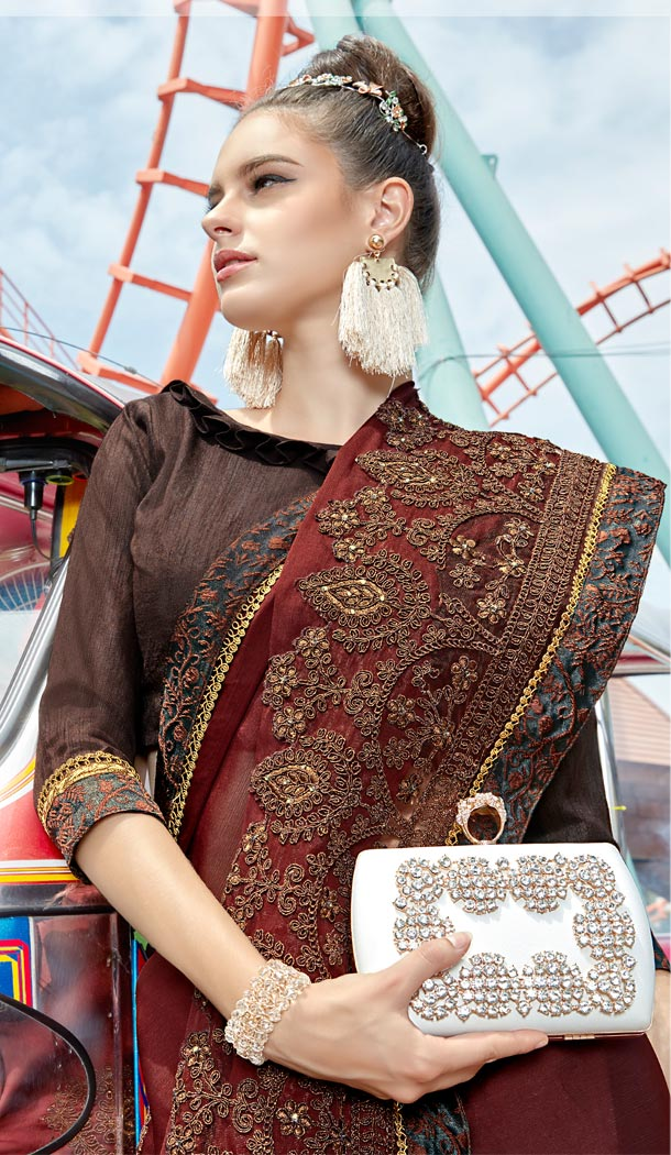 Brown Color Silk Georgette Resham Embroidery Party Saree Blouse For Women - 58968335