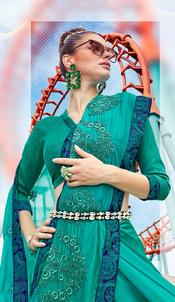 Turquoise Blue Color Satin Silk Resham Embroidery Party Saree Blouse For Women - 58968338