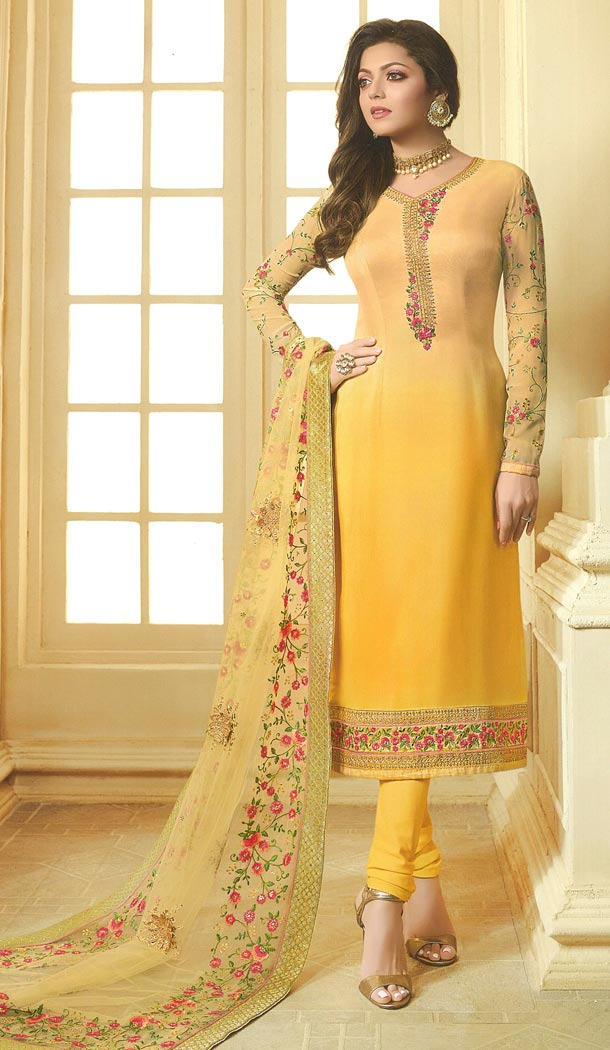 Drashti Dhami Tv Actress Yellow Color Georgette Satin Party Salwar Kameez - 59048426