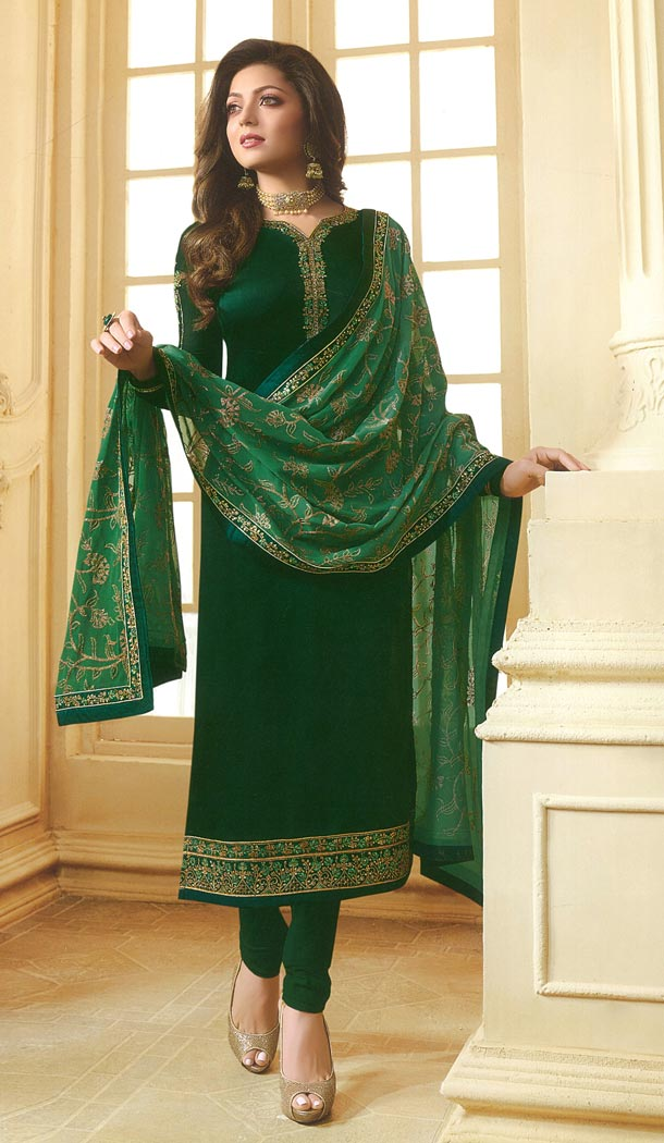 Drashti Dhami Tv Actress Dark Green Color Georgette Satin Party Salwar Kameez - 59048427