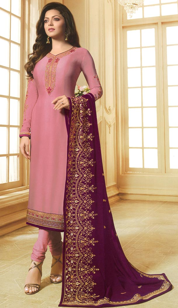 Drashti Dhami Tv Actress Pink Color Georgette Satin Party Salwar Kameez - 59048428