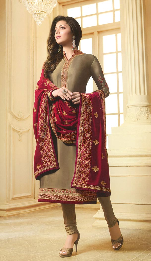 Drashti Dhami Tv Actress Beige Color Georgette Satin Party Salwar Kameez - 59048430