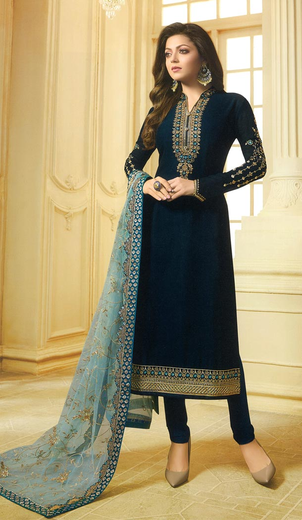 Drashti Dhami Tv Actress Navy Blue Color Georgette Satin Party Salwar Kameez - 59048431