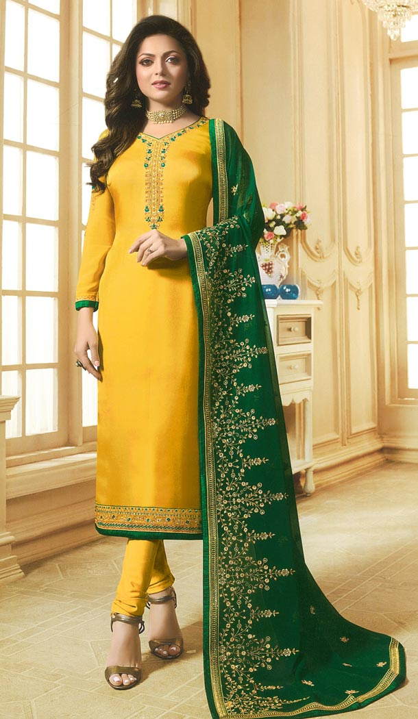 Drashti Dhami Tv Actress Yellow Color Georgette Satin Party Salwar Kameez - 59048432