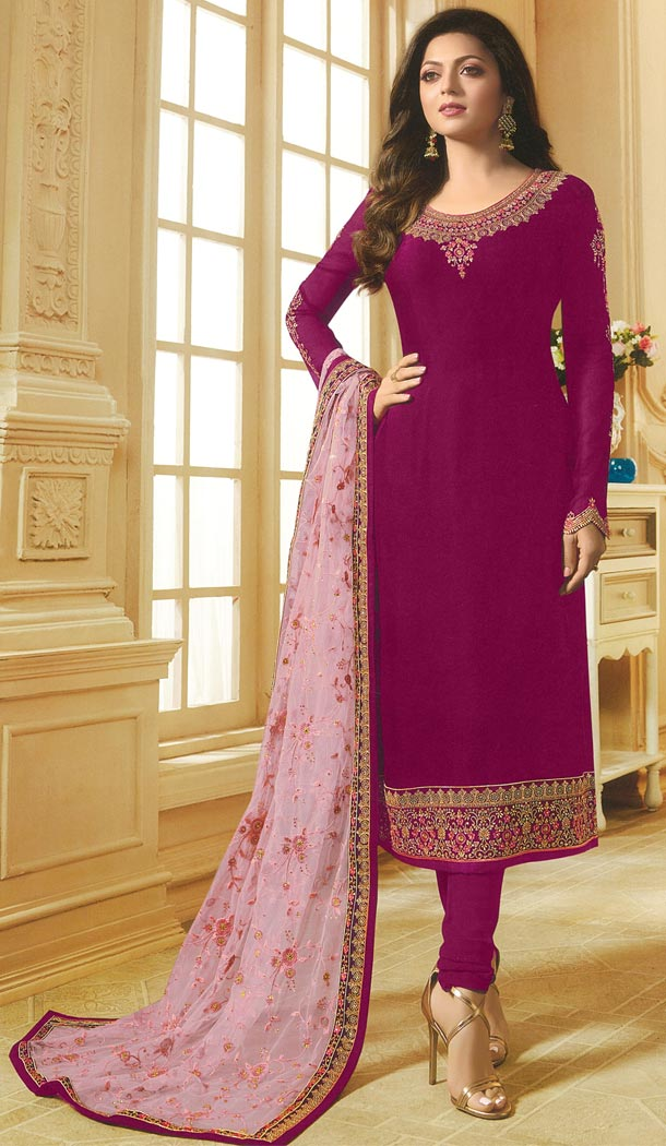 Drashti Dhami Tv Actress Magenta Pink Color Georgette Satin Party Salwar Kameez - 59048433