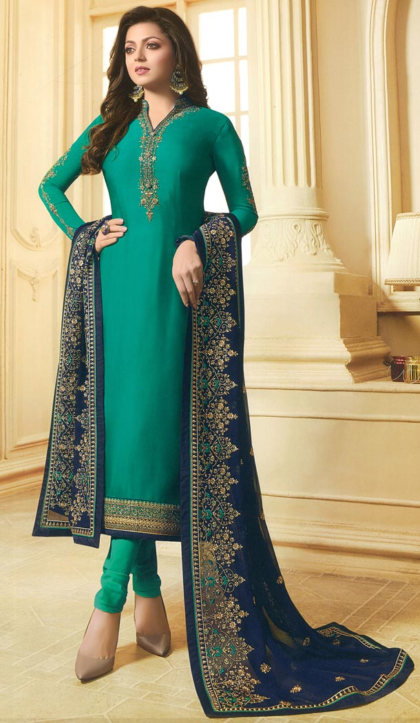 Drashti Dhami Tv Actress Teal Blue Color Georgette Satin Party Salwar Kameez - 59048434