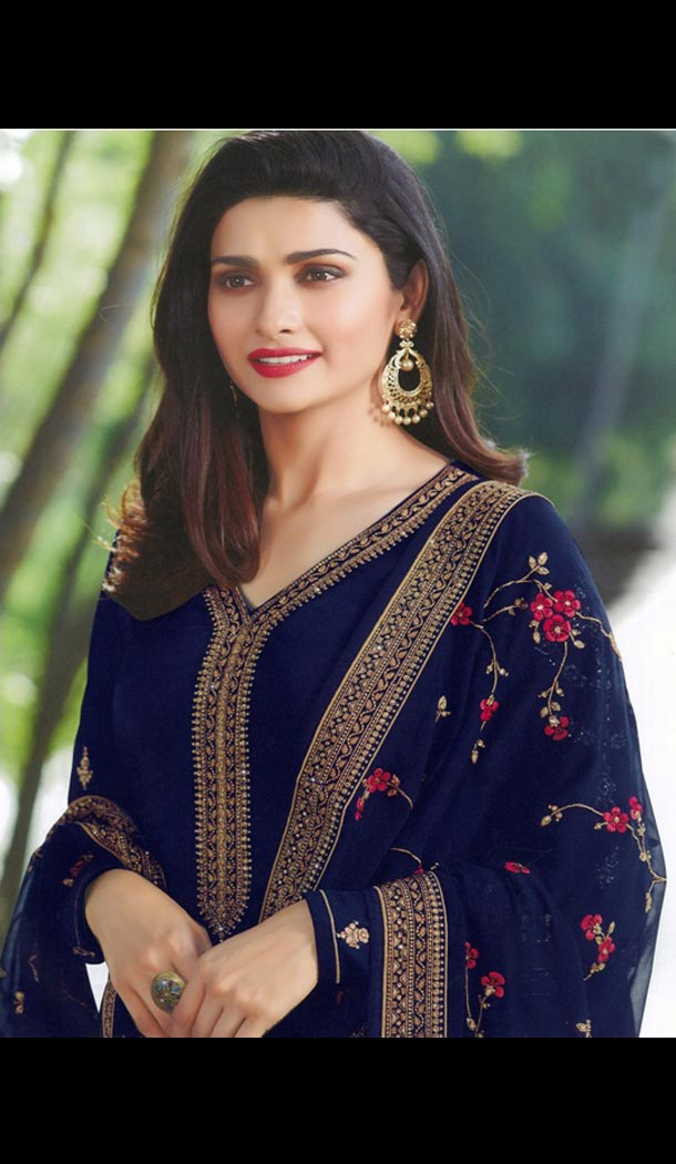 Prachi Desai Tv Actress Navy Blue Color Satin Georgette Party Salwar Kameez - 59118489