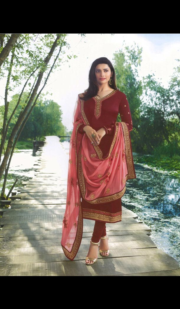Prachi Desai Tv Actress Maroon Color Satin Georgette Party Salwar Kameez - 59118490