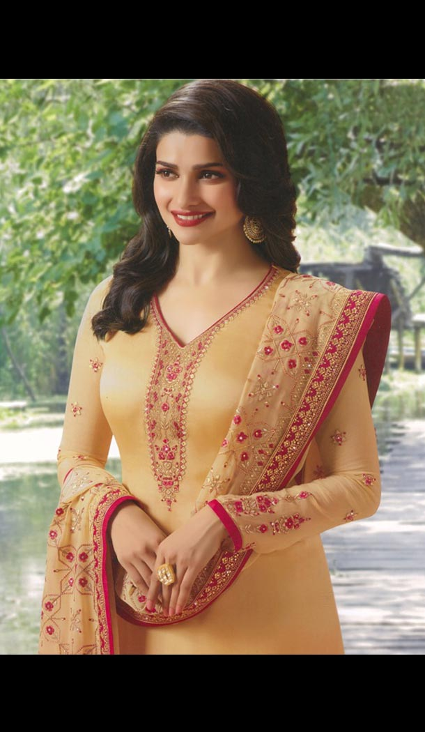 Prachi Desai Tv Actress Beige Color Satin Georgette Party Salwar Kameez - 59118491