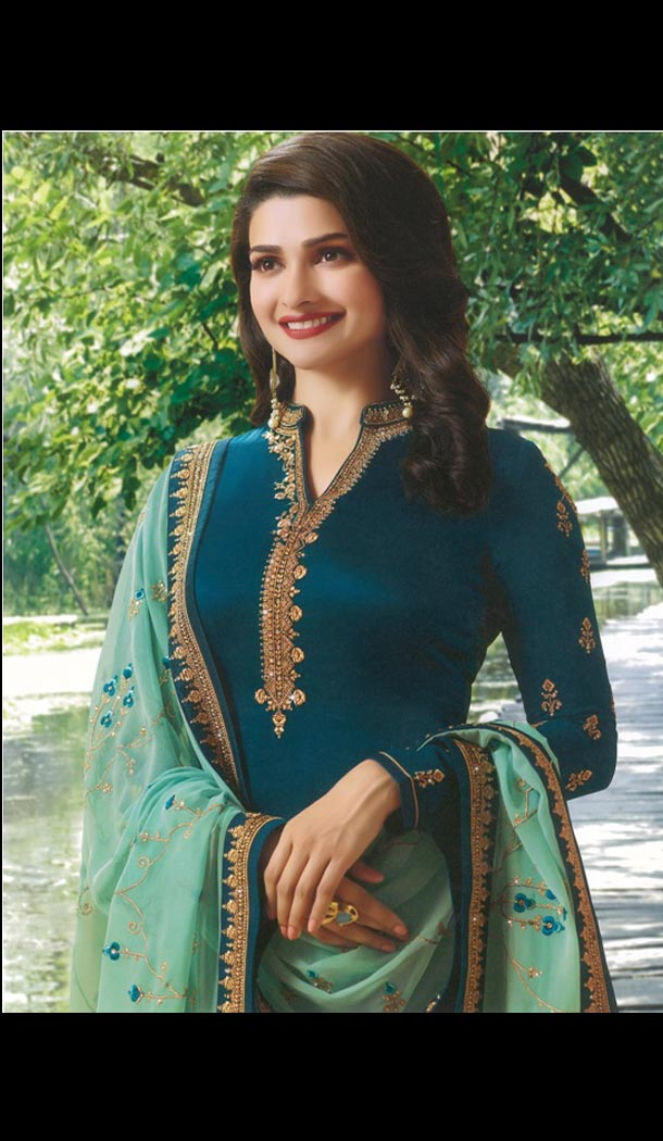 Prachi Desai Tv Actress Teal Blue Color Satin Georgette Party Salwar Kameez - 59118492