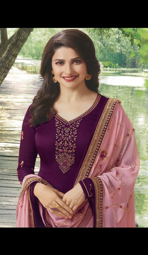 Prachi Desai Tv Actress Wine Color Satin Georgette Party Salwar Kameez - 59118496