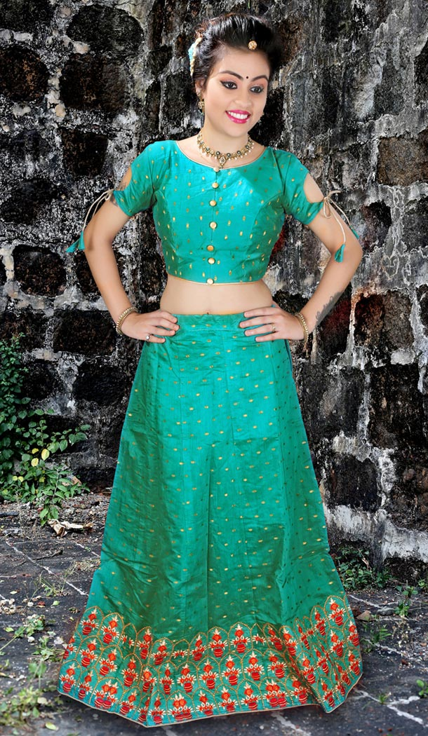 Green Color Jacquard Silk Embroidery Party Wear Teenagers Girl Lehenga Choli - 58287531