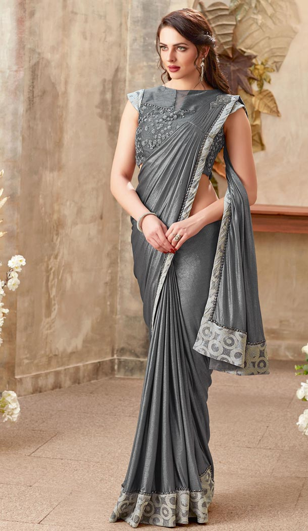 Grey Color Lycra Lehenga Style Party Wear Saree Blouse - 59298668