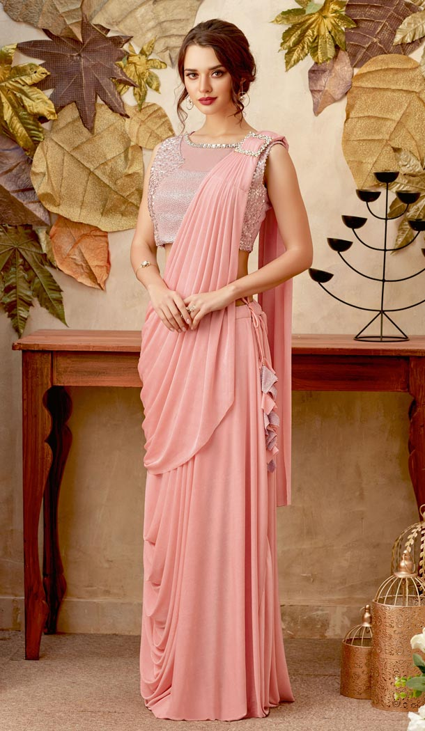 Baby Pink Color Lycra Lehenga Style Party Wear Saree Blouse - 59298674