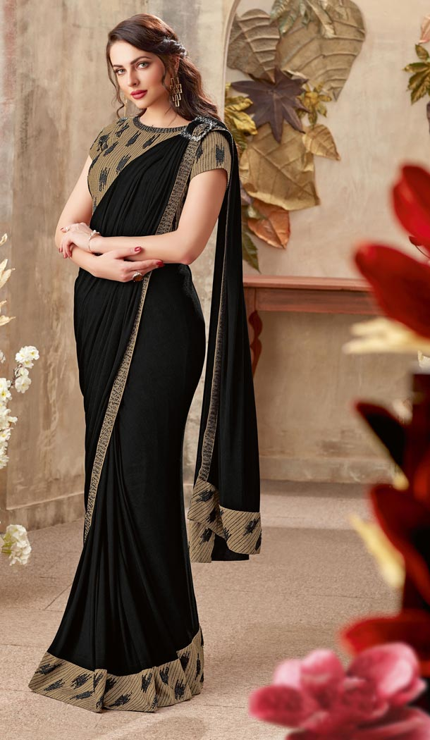 Black Color Lycra Lehenga Style Party Wear Saree Blouse - 59298677