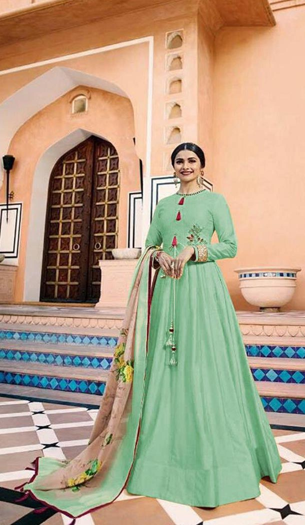Tv Actress Prachi Desai Mint Color Heavy Sana Silk Long Anarkali Salwar Kameez - 3192772