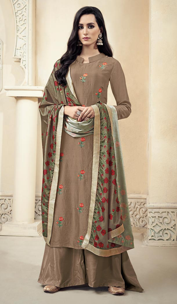 Chocolate Color Upada Silk Pakistani Style Party Wear Palazzo Suit - 3372938