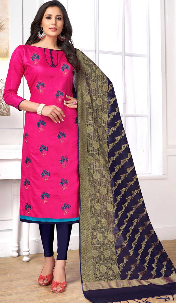 Pink Color Pc Cotton Embroidery Casual Party Wear Salwar Kameez - 3422978