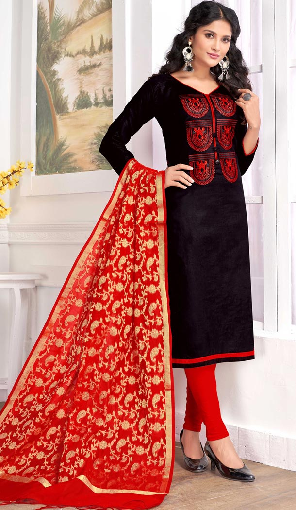 Black Color Pc Cotton Embroidery Casual Party Wear Salwar Kameez - 3422980