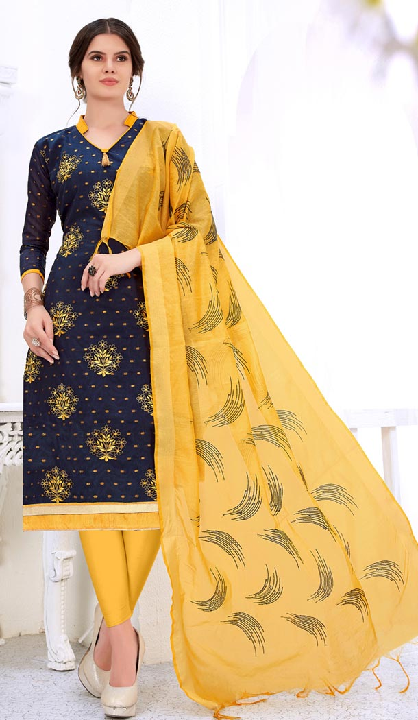 Blue Color Cotton Embroidery Formal Office Wear Salwar Kameez - 403448722