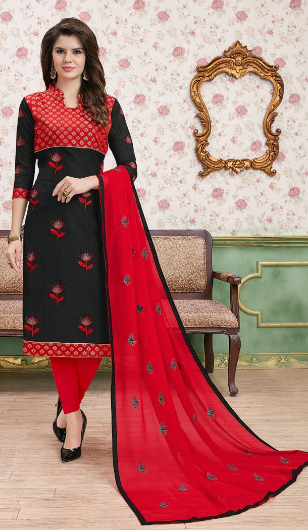 Red Color Modal Cotton Embroidery Formal Office Wear Salwar Kameez - 403448727