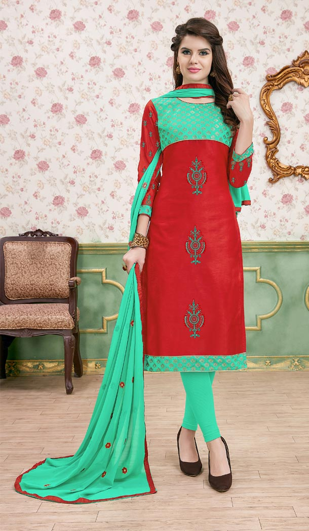 Red Color Modal Cotton Embroidery Formal Office Wear Salwar Kameez - 403448734