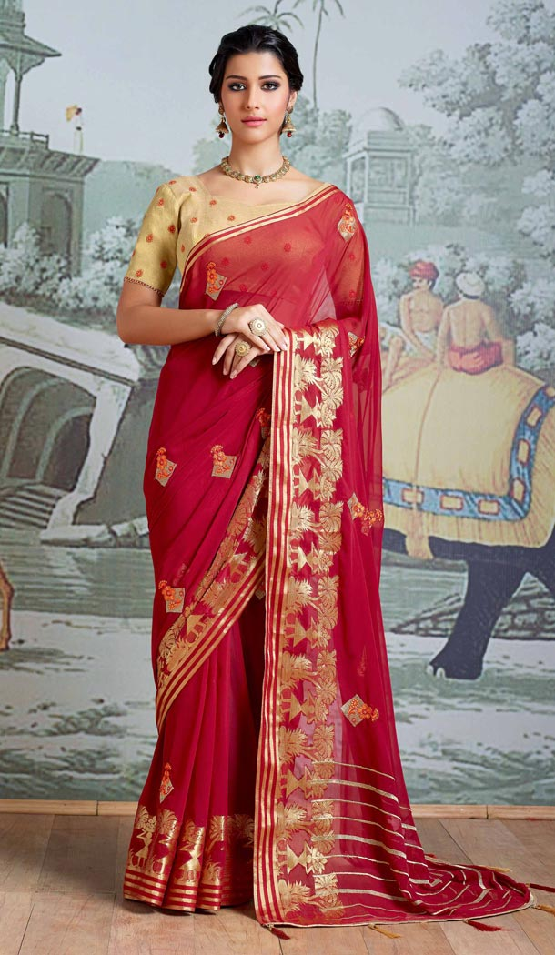 Red Color Pure Viscose Casual Wear Indian Saree Blouse For Women - 403348703