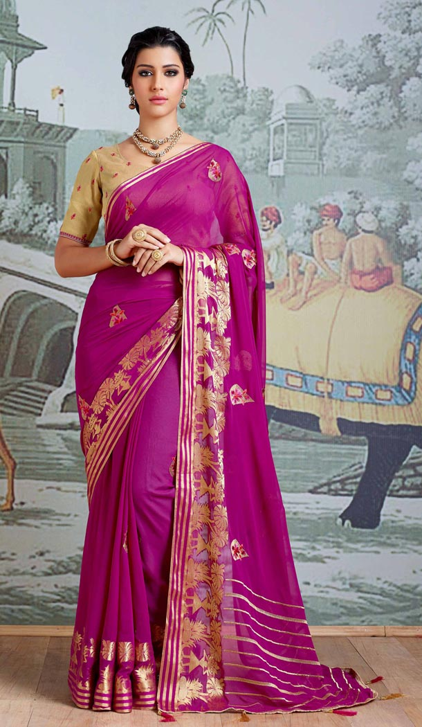Purple Color Pure Viscose Casual Wear Indian Saree Blouse For Women - 403348706