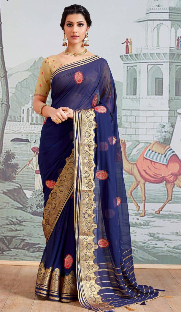 Navy Blue Color Pure Viscose Casual Wear Indian Saree Blouse For Women - 403348713