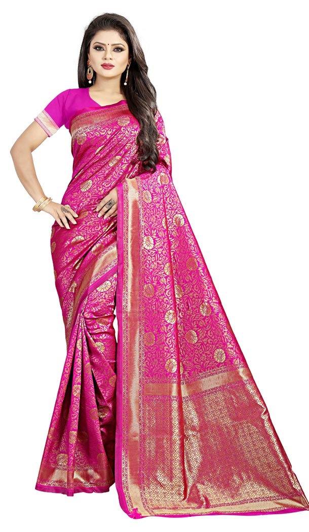 Pink Color Jacquard cotton Office Wear Casual Indian Saree Blouse For Women -404048791