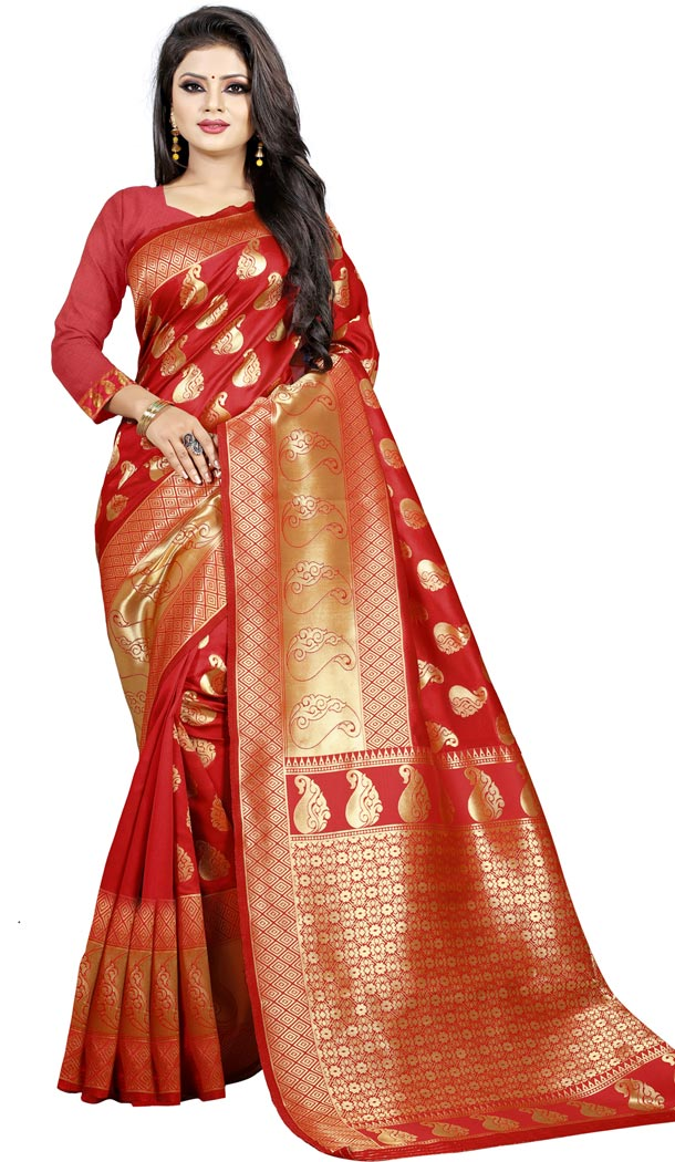 Red Color Jacquard cotton Office Wear Casual Indian Saree Blouse For Women -404048794