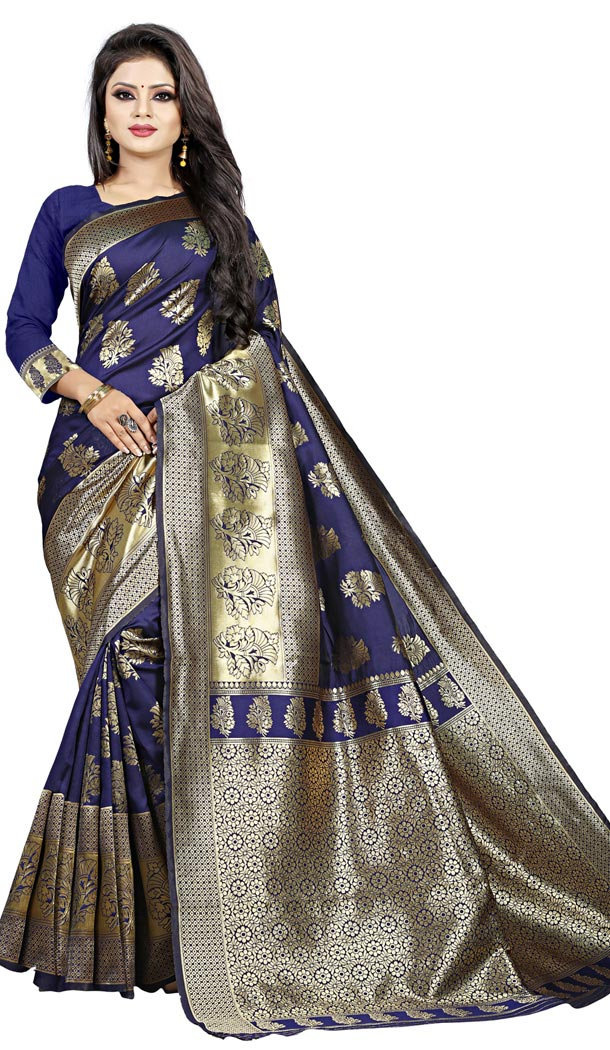 Blue Color Jacquard Cotton Office Wear Casual Indian Saree Blouse For Women -404048795