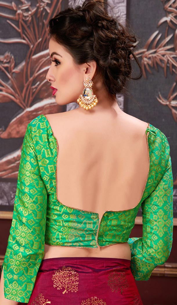 Green Color Brocade Party Wear 3/4 Sleeve Readymade Blouse - 3533101