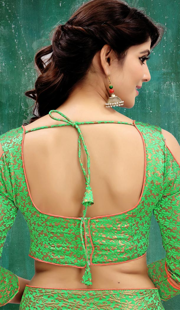Green Color Brocade Party Wear 3/4 Sleeve Readymade Blouse - 3533103