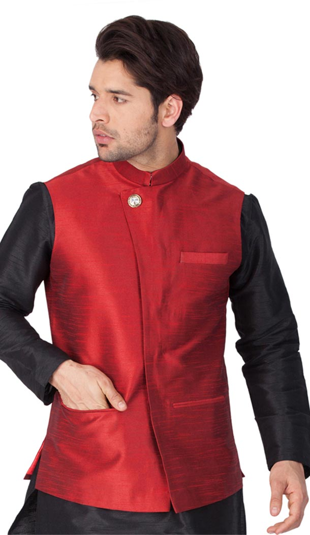 Maroon Color Cotton Satin Party Wear Men Readymade Waistcoat - 395347704