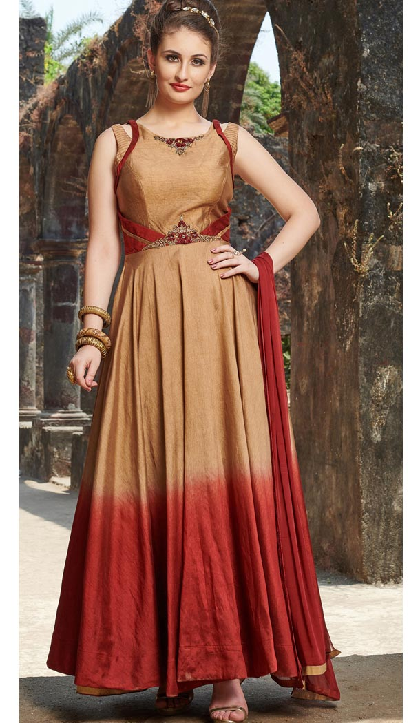 Golden Red Color Chanderi Silk Designer Readymade Gown for Women - 404948902
