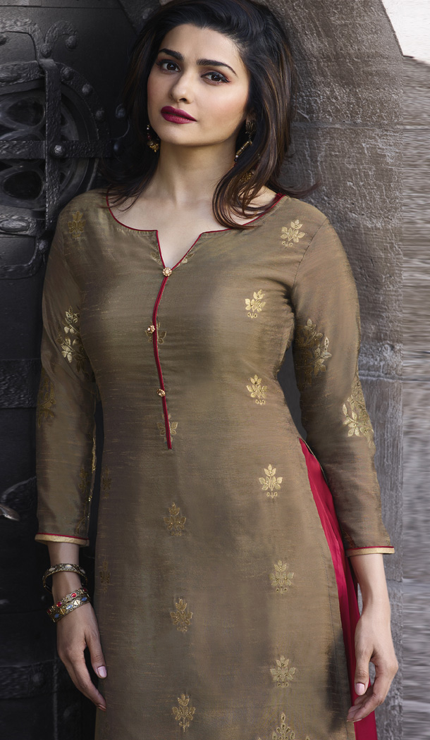 0dab6fd8eda5d TV Actress Prachi Desai Beige Color Jacquard Silk Ready Made Kurtis -  59408801