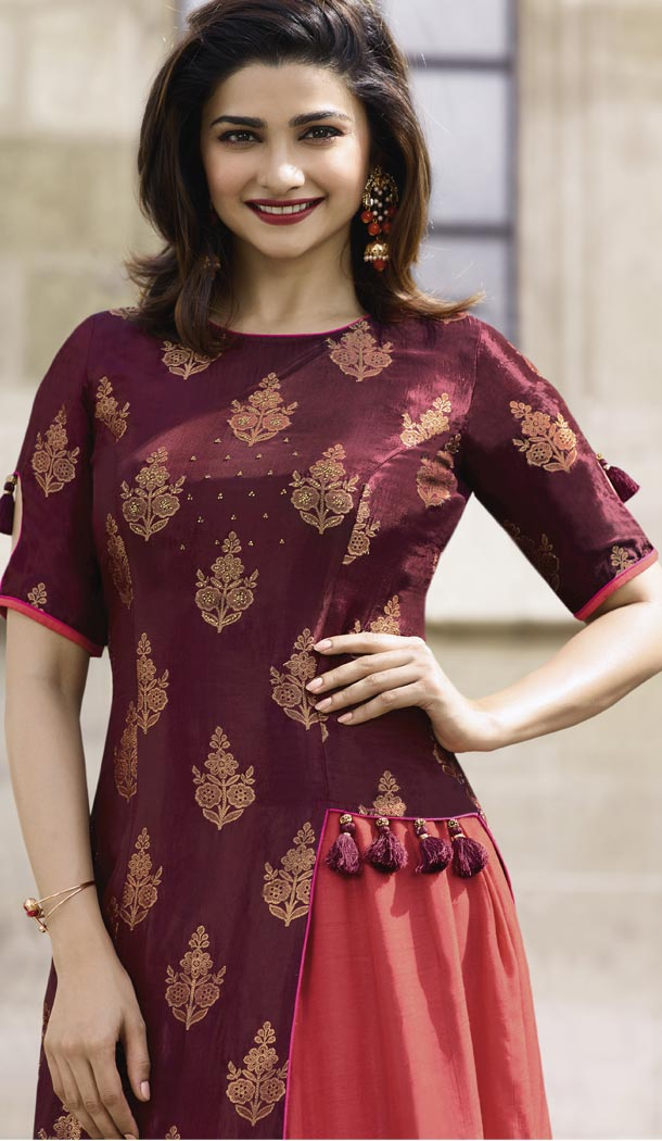 15deda86b4fbb TV Actress Prachi Desai Maroon Color Jacquard Silk Ready Made Kurtis -  59408805