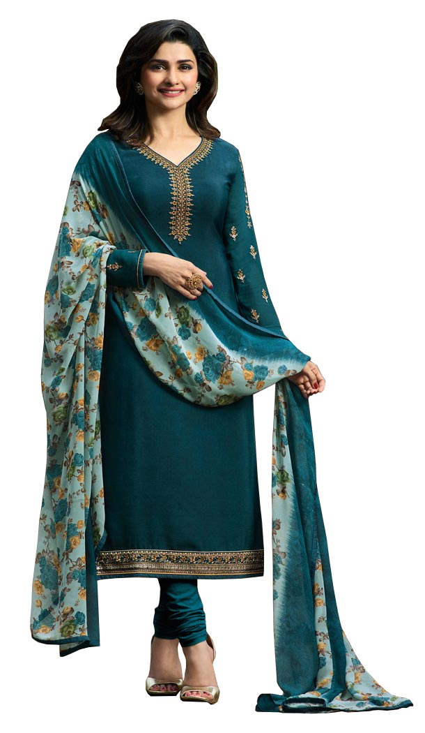 Bollywood Tv Star Prachi Desai in Teal Blue Color Crepe Salwar Kameez - 59428818
